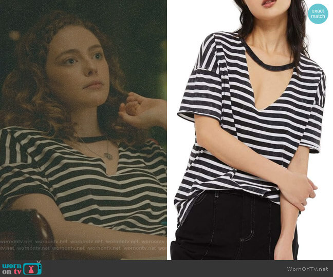 Stripe Acid Choker Tee by Topshop worn by Danielle Rose Russell on The Originals