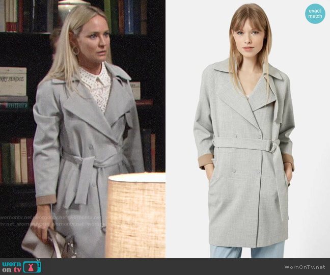 Topshop Double Breasted Trench Coat worn by Sharon Collins (Sharon Case) on The Young & the Restless