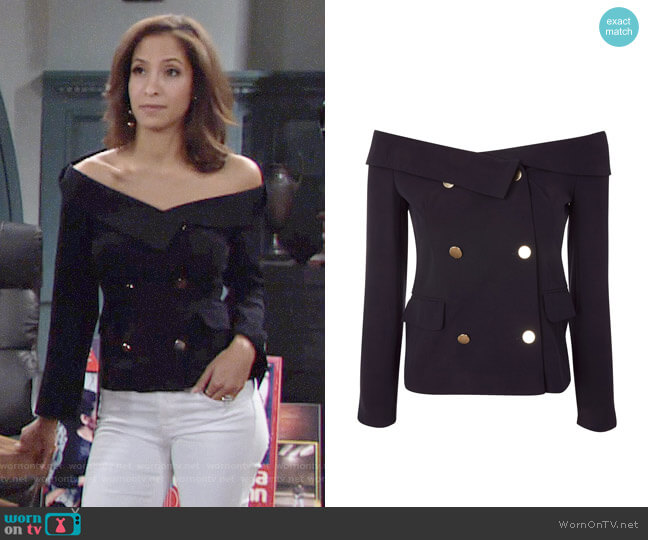 Topshop Off Shoulder Blazer worn by Lily Winters (Christel Khalil) on The Young & the Restless