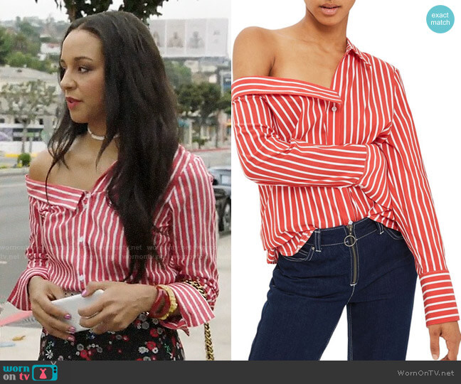 Topshop Stripe Off the Shoulder Top worn by Shaun (Carra Patterson) on The Arrangement