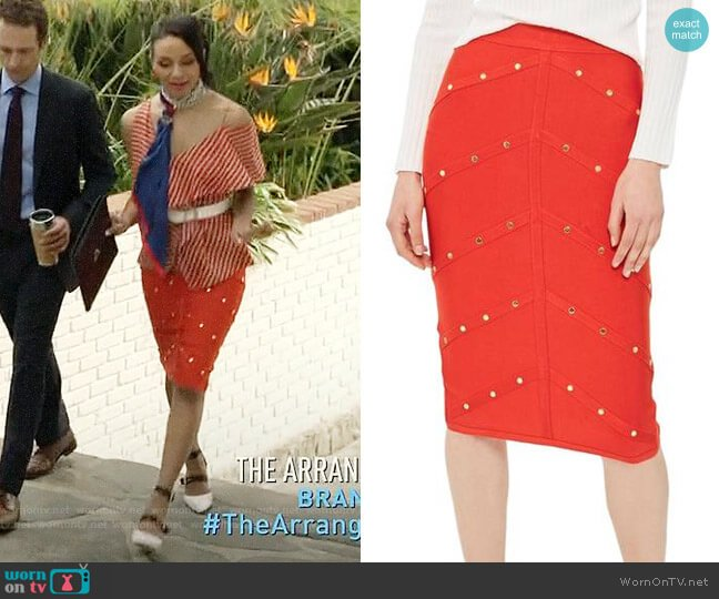 Topshop Studded Pencil Skirt worn by Carra Patterson on The Arrangement