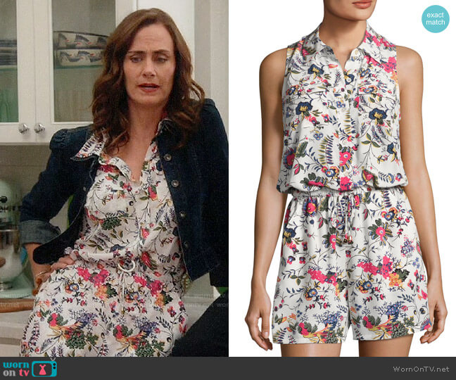 Tory Burch Gabriella Romper worn by Maya (Diane Farr) on Splitting Up Together