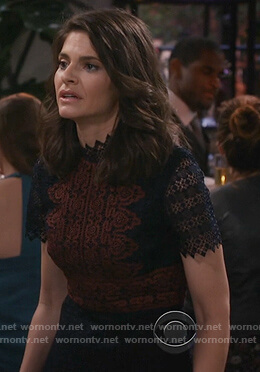 Leslie's two tone lace dress on Living Biblically