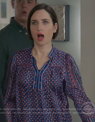 Jen's blue silk print blouse on Life in Pieces