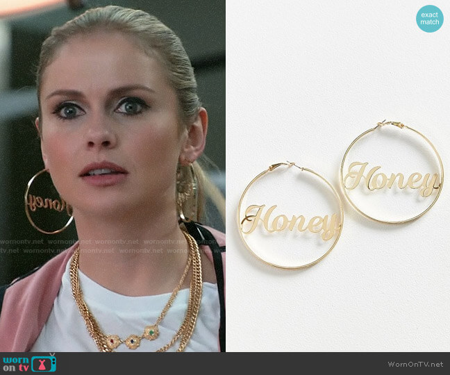 Urban Outfitters Honey Etched Statement Hoop Earring worn by Rose McIver on iZombie