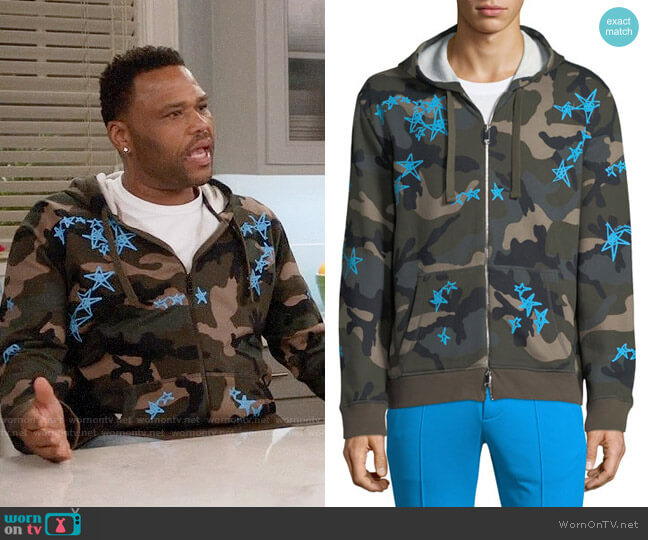 Valentino Camouflage-Print Zip-Front Hoodie worn by Andre Johnson (Anthony Anderson) on Blackish