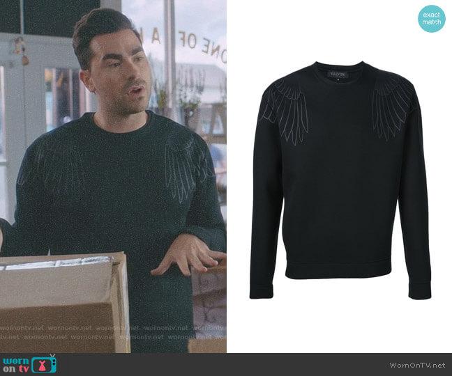 Eagle Print Sweatshirt by Valentino worn by Daniel Levy on Schitts Creek
