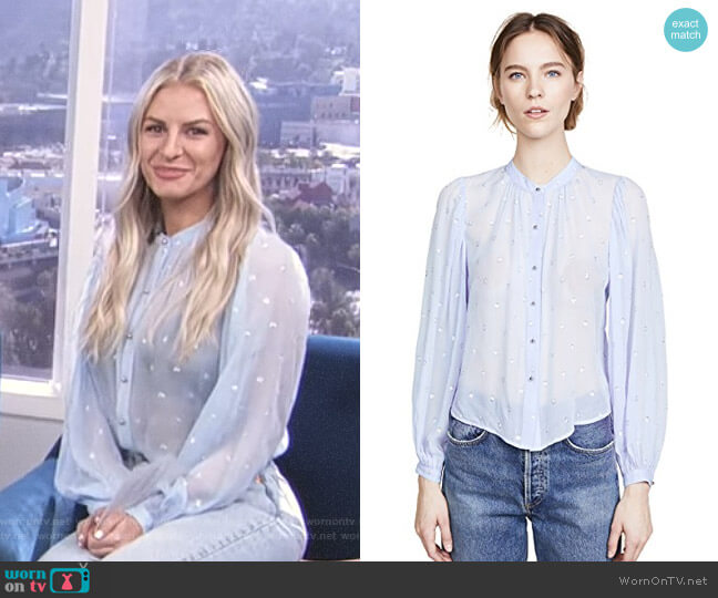 'Ashlynn' Blouse by Veronica Beard worn by Morgan Stewart (Morgan Stewart) on E! News