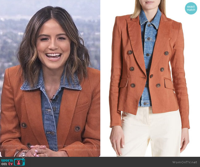 Diego Linen Blend Dickey Jacket by Veronica Beard worn by Erin Lim  on E! News