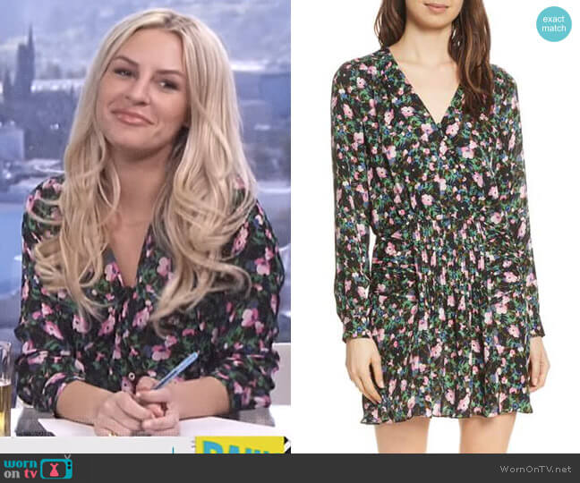 Naomi Floral Print Silk Dress by Veronica Beard worn by Morgan Stewart  on E! News
