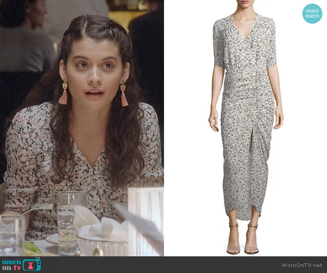 Veronica Beard Mariposa Wrap Silk Midi Dress worn by Sofia Black D'Elia on The Mick
