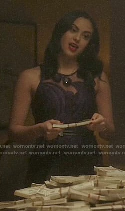 Veronica's purple feather embroidered dress on Riverdale