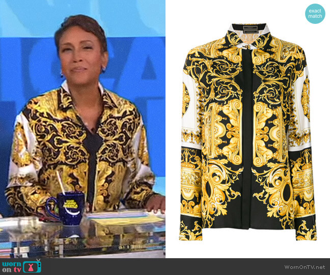 Barocco Print Shirt by Versace worn by Robin Roberts on Good Morning America