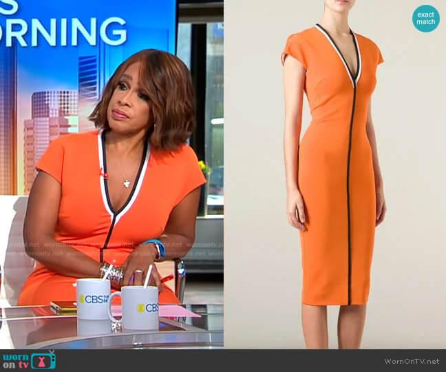 Victoria Beckham Contrast Trim V-neck Dress worn by Gayle King  on CBS Mornings