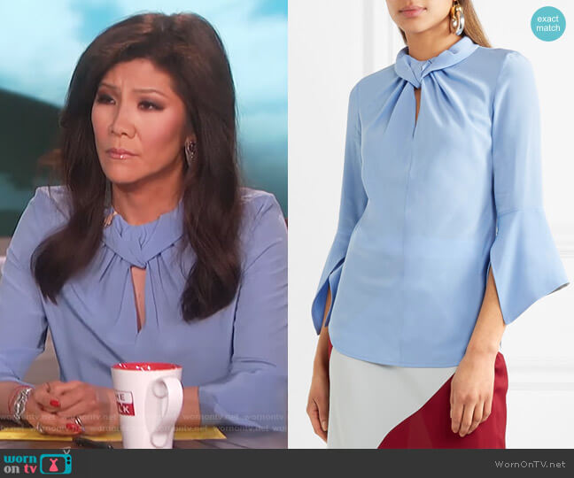 Flare Sleeve Knot Blouse by Victoria Beckham worn by Julie Chen  on The Talk