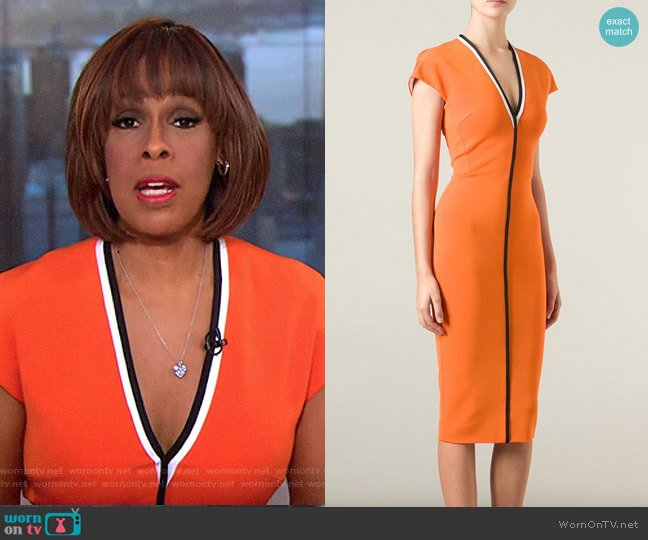 Contrast Trim V-neck Dress by Victoria Beckham worn by Gayle King on CBS This Morning
