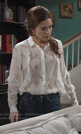 Victoria's white and yellow floral blouse on The Young and the Restless