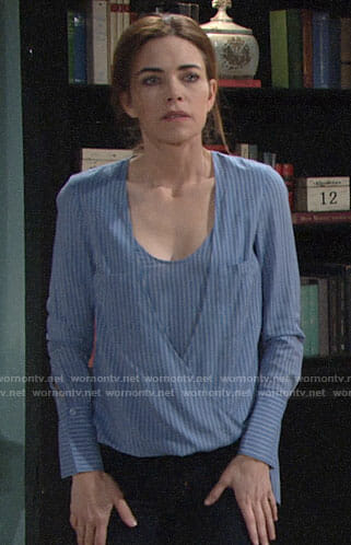 Victoria's blue striped wrap blouse on The Young and the Restless