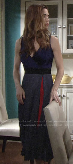 Victoria's blue pleated dress with red detail on The Young and the Restless