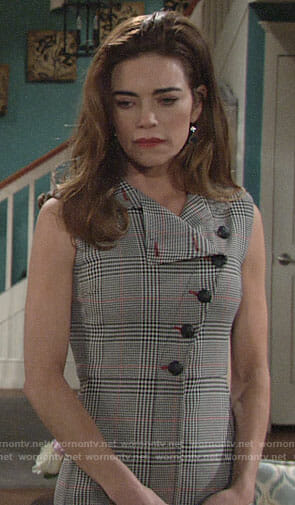 Victoria's plaid buttoned front dress on The Young and the Restless