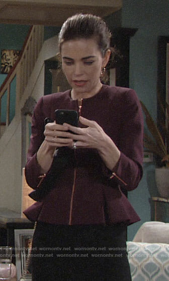 Victoria's purple peplum jacket on The Young and the Restless