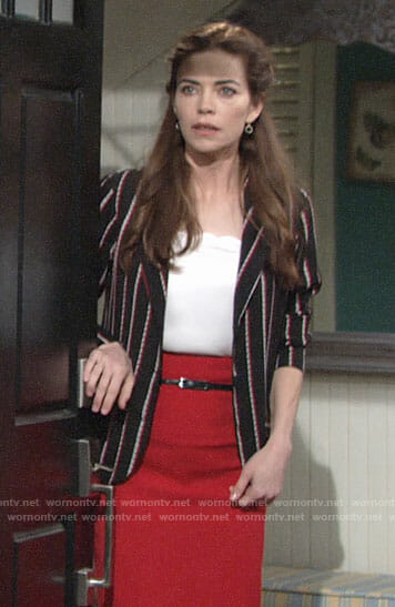 Victoria's striped blazer and red pencil skirt on The Young and the Restless