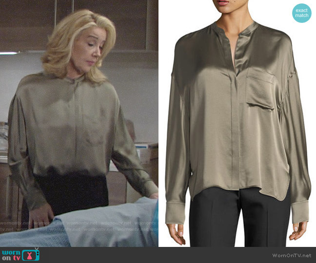Vince Single-Pocket Button-Front Satin Blouse worn by Nikki Reed Newman (Melody Thomas-Scott) on The Young & the Restless