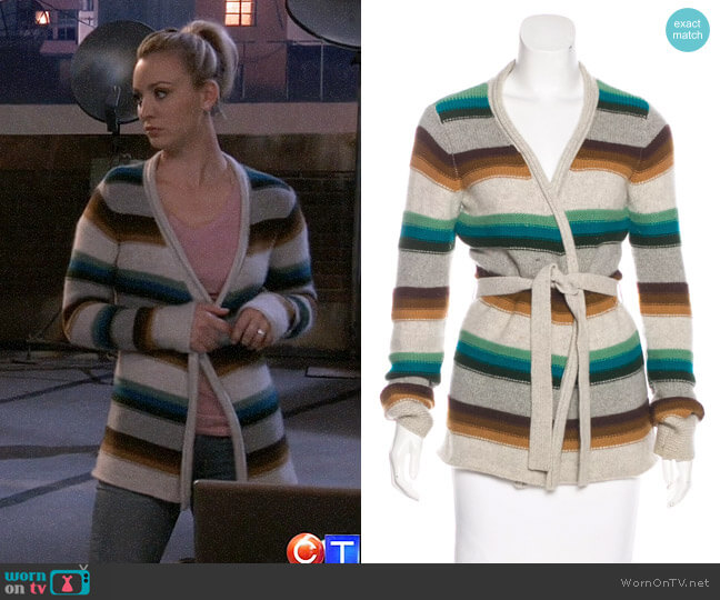 Vince Striped Cashmere Cardigan worn by Kaley Cuoco on The Big Bang Theory