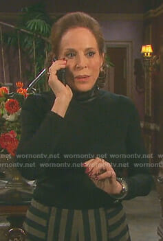 Vivian's black leather neck top on Days of our Lives