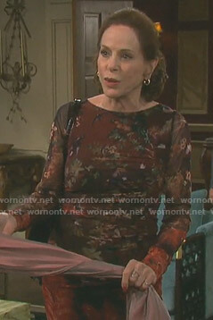 Vivian's brown floral ruched dress on Days of our Lives