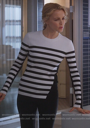 Lizzie's black and white striped sweater on Instinct