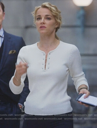 Lizzie's white barbell embellished sweater on Instinct
