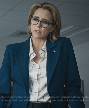 Elizabeth's white checked blouse on Madam Secretary