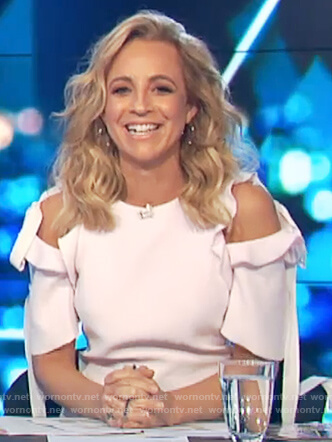 Carrie's white cold shoulder top on The Project