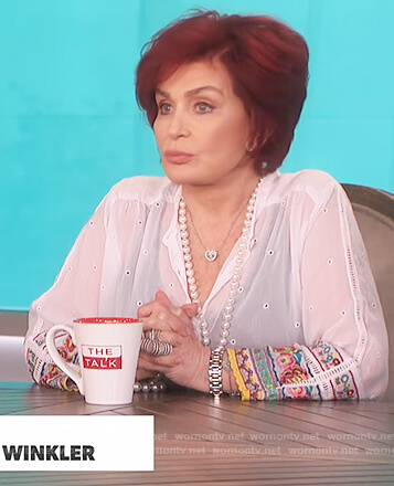 Sharon's white embellished cuff top on The Talk