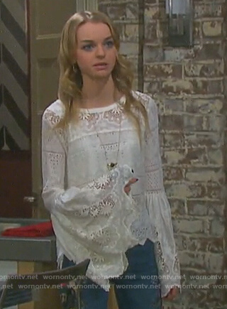 Claire's white lace bell sleeve top on Days of our Lives