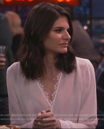 Leslie's white lace trim wrap top on Living Biblically