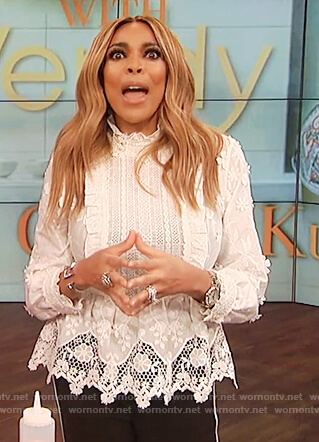 Wendy's white lace peplum top on The Wendy Williams Show