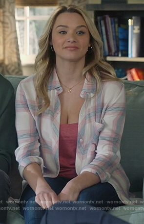 Clementine's white plaid shirt on Life in Pieces