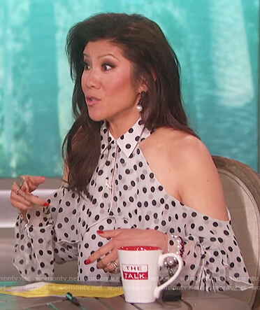 Julie's white polka dot cold shoulder top on The Talk