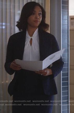 Jasmine's white twist front blouse on Instinct