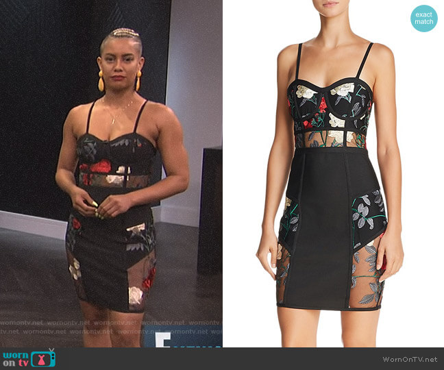 Sheer-Inset Embroidered Dress by Wow Couture worn by Sibley Scoles (Sibley Scoles) on E! News