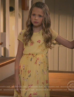 Sophia's yellow butterfly print dress on Life in Pieces