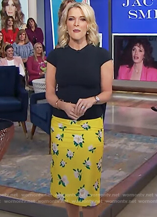 Megyn's yellow floral print pencil skirt on Megyn Kelly Today