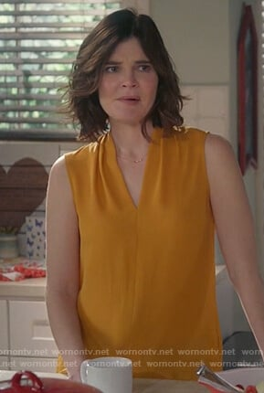 Heather's yellow sleeveless top on Life in Pieces