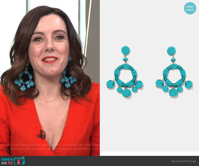 Beaded Circular Earrings by Zara worn by Melanie Bromley on E! News