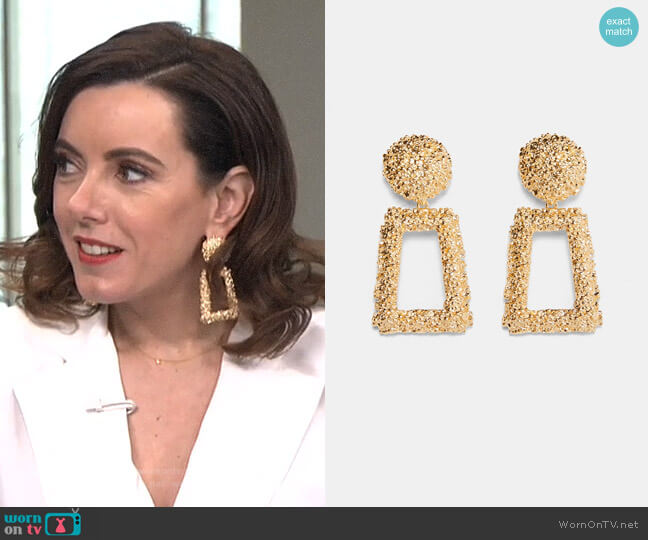 Golden Raised Design Earrings by Zara worn by Melanie Bromley on E! News