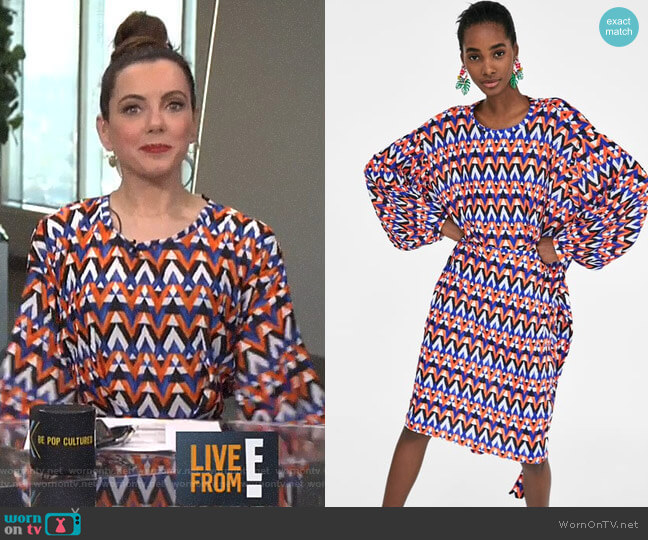 Geometric Print Pleated Dress by Zara worn by Melanie Bromley on E! News