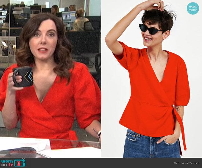 Linen Crossover Top by Zara worn by Melanie Bromley on E! News