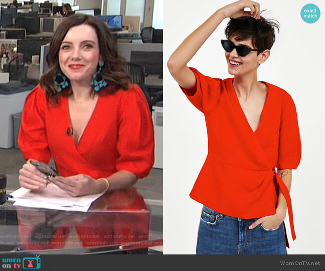 Linen Crossover Top by Zara worn by Melanie Bromley on E! News